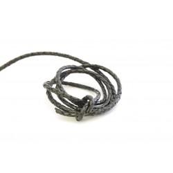 4 mm flettet lædersnøre sort